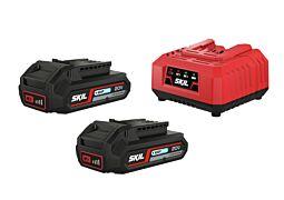 """SKIL Akumulatorske baterije (litij-ionske akumulatorske baterije """"20V Max"""" (18 V) 2,0 Ah """"Keep Cool™"""") in polnilnik"""