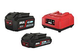 """SKIL Akumulatorske baterije (litij-ionske akumulatorske baterije """"20V Max"""" (18 V) 2,0 in 4,0 Ah s tehnologijo """"Keep Cool™"""") in polnilnik"""